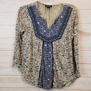 Lucky brand Boho 3/4 sleeve embroidered top